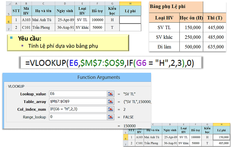 Vlookup lồng If trong excel