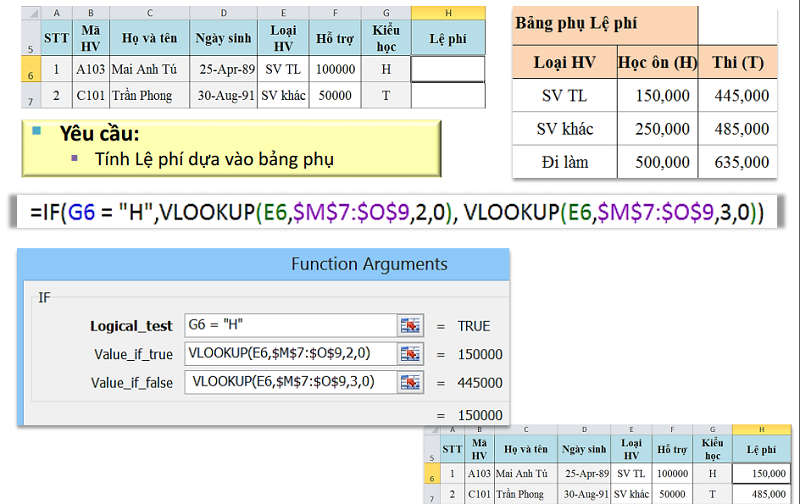 IF lồng VLOOKUP trong excel